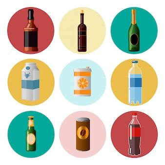 Bevande diverse. bevande in ware. elementi impostati. illustrazione vettoriale