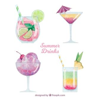 Bevande estive ambientate in stile acquerello