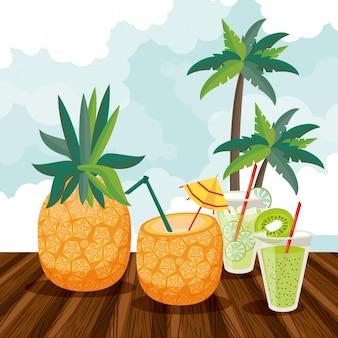 Bevande estive e cartoni animati di cocktail