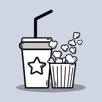 Bevande gassate e popcorn nel film del cinema
