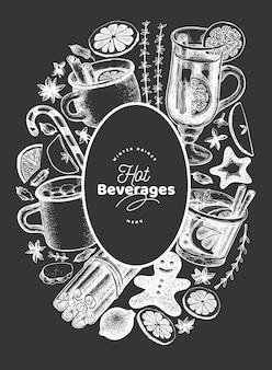 Bevande invernali modello di disegno vettoriale. vin brulè disegnato a mano stile inciso, cioccolata calda, illustrazioni di spezie sulla lavagna.