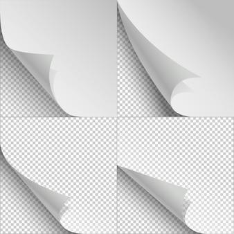 Bianchi fogli di carta con arricciatura della pagina e ombre