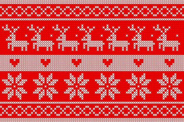 Bianco a maglia su sfondo rosso design per l'evento di natale.