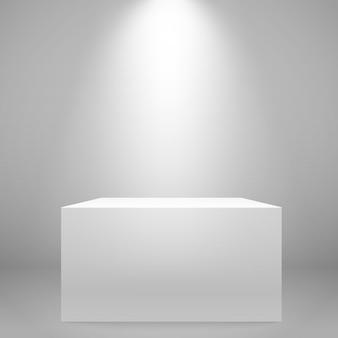 Bianco illuminato ampio stand sul muro. mockup di vettore