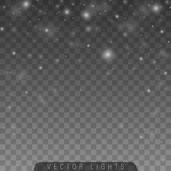 Bianco polvere. particelle di polvere magica scintillante.