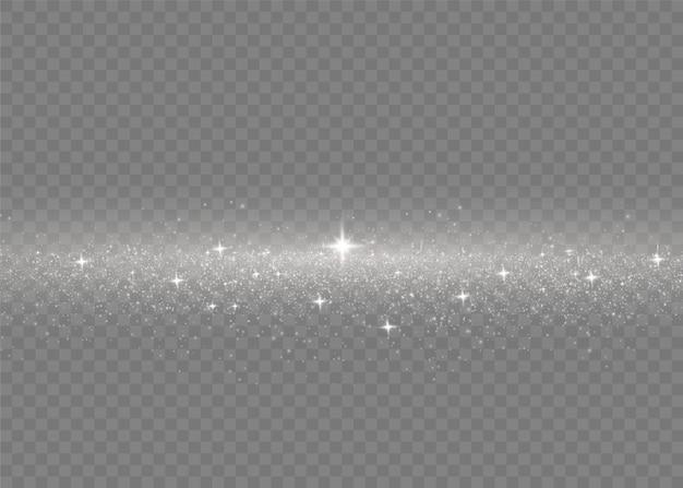 Bianco polvere. scintille bianche e stelle dorate brillano di luce speciale.