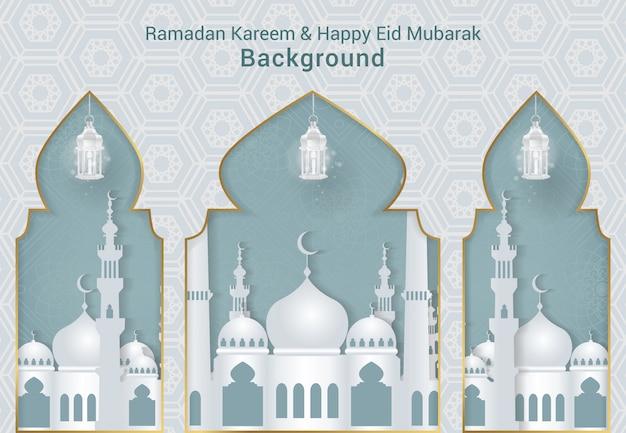 Bianco ramadan kareem e felice eid mubarak sfondo vettoriale