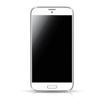 Bianco smartphone realistico illustrazione vettoriale isolamento. telefono moderno di stile.
