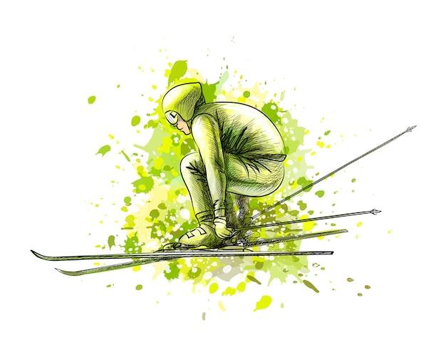 Biatleta astratto da una spruzzata di acquerello, schizzo disegnato a mano. sport invernali. illustrazione di vernici