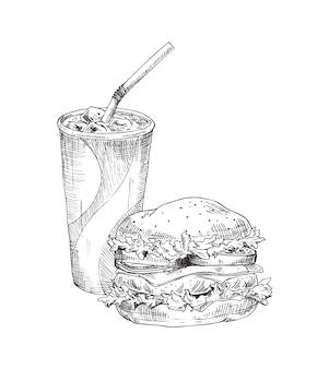 Bibita nell'illustrazione di vettore dell'hamburger della tazza