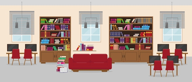 Biblioteca dettagliata interni in stile piatto