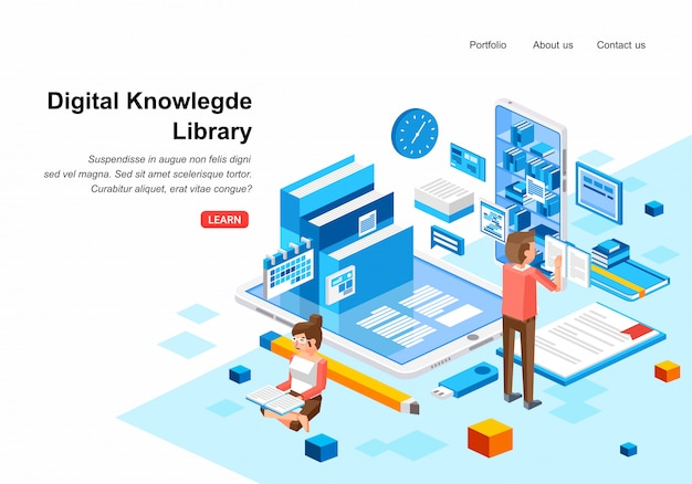 Biblioteca di conoscenza digitale isometrica con due persone personaggio uomo e donne che leggono il libro digitale