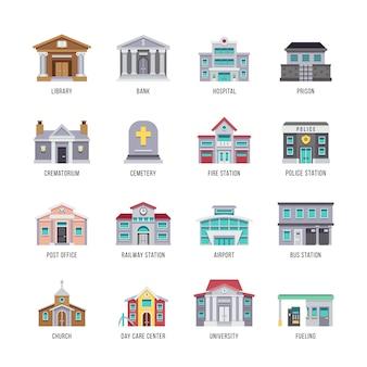 Biblioteca di edifici della città comunale, banca, ospedale, set di icone di prigione.