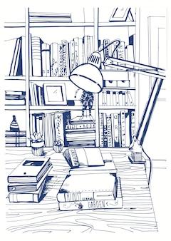 Biblioteca domestica interna moderna, illustrazione degli scaffali per libri.