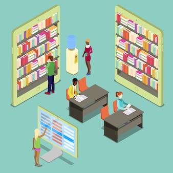 Biblioteca isometrica con scaffali e persone che leggono