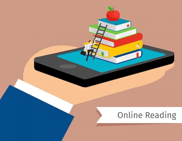 Biblioteca mobile nell'illustrazione di vettore dello smartphone