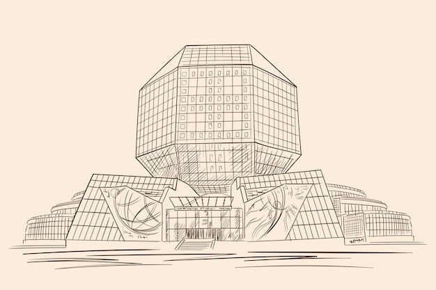 Biblioteca nazionale bielorussa nel centro della città di minsk. edificio in vetro.