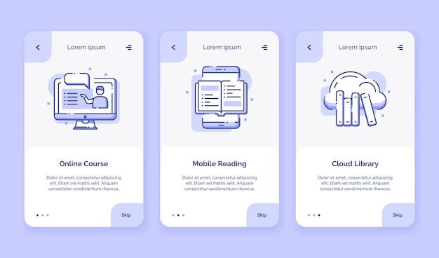 Biblioteca on-line di nuvola mobile di lettura dell'icona online di corso per il modello della pagina di destinazione della casa delle app mobili della campagna con progettazione piana di stile del profilo