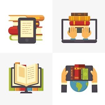 Biblioteca online piatta. accesso del libro della biblioteca della scuola al computer portatile. negozio di libri di testo e libri di educazione scientifica