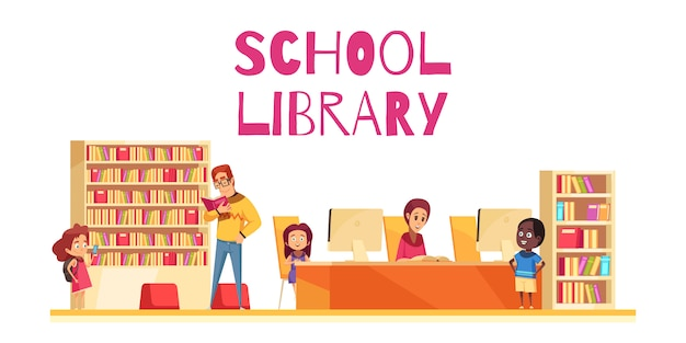 Biblioteca scolastica con le casse e i computer di libro degli studenti sul fumetto bianco del fondo