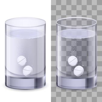 Bicchiere d'acqua e pillole