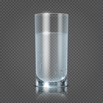 Bicchiere d'acqua isolato sull'illustrazione a quadretti trasparente di vettore del fondo. coppa con chiara freschezza