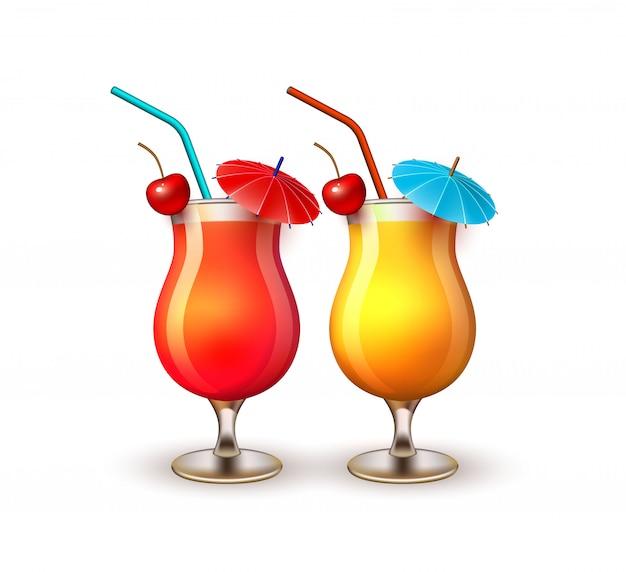 Bicchiere da cocktail realistico di vacanze estive di vettore