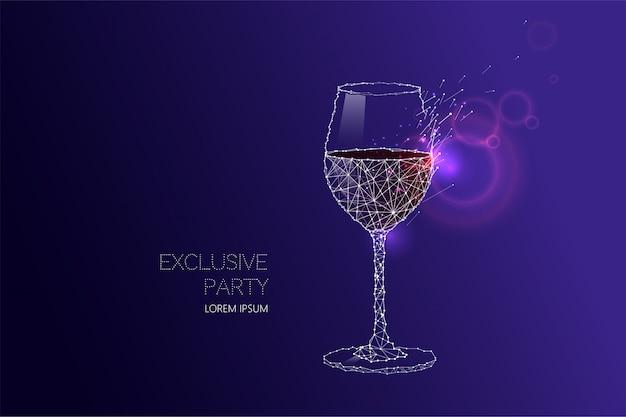 Bicchiere da vino con effetto luminoso e cielo stellato