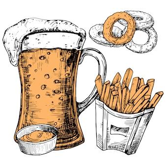 Bicchiere di birra e snack disegnati a mano