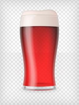 Bicchiere di birra realistico con birra rossa e schiuma