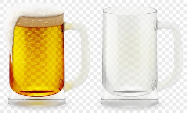 Bicchiere di birra spumoso realistico 3d.