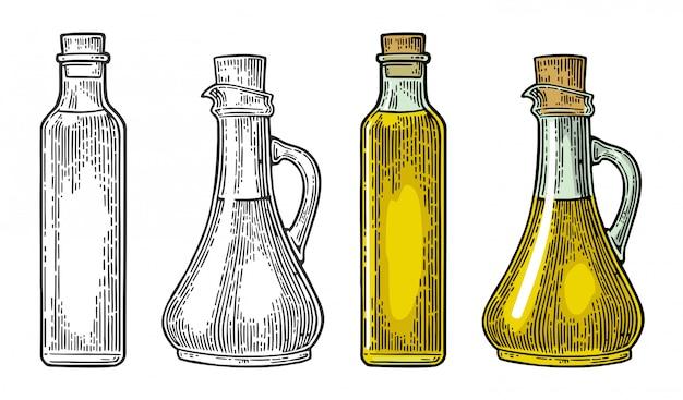 Bicchiere di bottiglia e brocca di liquido con tappo di sughero. olio d'oliva.