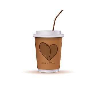 Bicchiere di caffè con un cuore e una cannuccia.