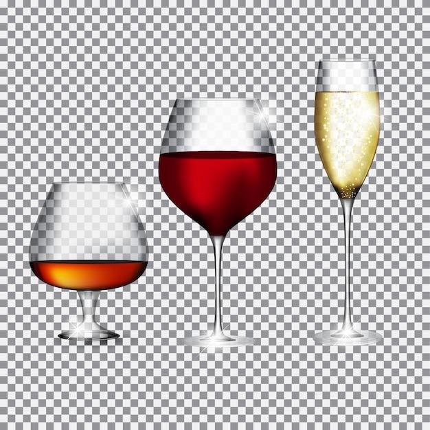 Bicchiere di champagne, cognac e vino su trasparente