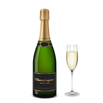 Bicchiere di champagne e bottiglia