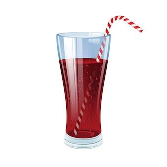 Bicchiere di cola con cannuccia da cocktail.
