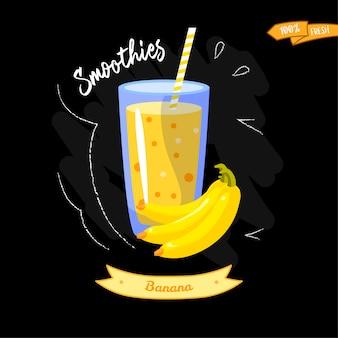 Bicchiere di frullati su sfondo nero. banana. design estivo - ottimo per la progettazione di menu