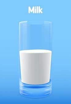 Bicchiere di latte. illustrazione isolata