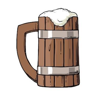 Bicchiere di legno con birra e schiuma.