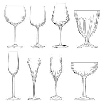 Bicchiere di vino diverso. spumante, champagne e vino vuoti disegnati a mano
