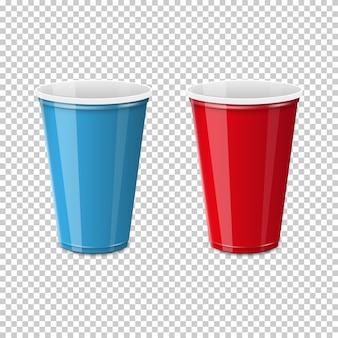 Bicchiere in plastica per uso singolo.