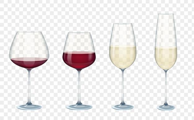 Bicchieri da vino vettoriali trasparenti