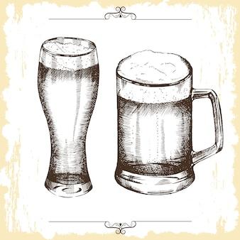Bicchieri di birra disegnati a mano.