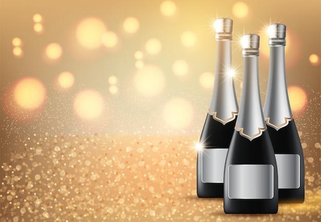 Bicchieri di champagne su sfondo chiaro con copyspace