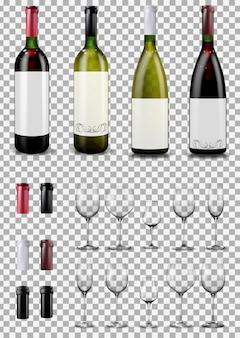 Bicchieri e bottiglie di vino. tappi che chiudono il flacone del tappo.