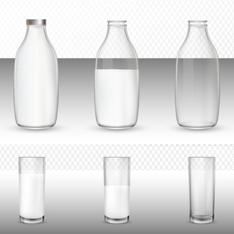 Bicchieri e bottiglie, latte.