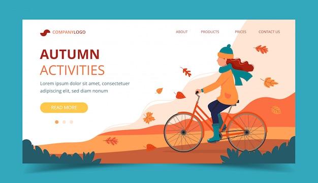 Bici di guida della ragazza nel parco in autunno. modello di pagina di destinazione.