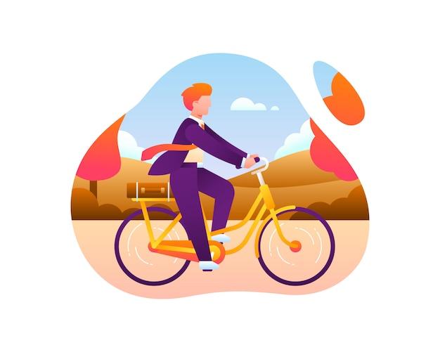 Bici per lavorare concetto illustrazione