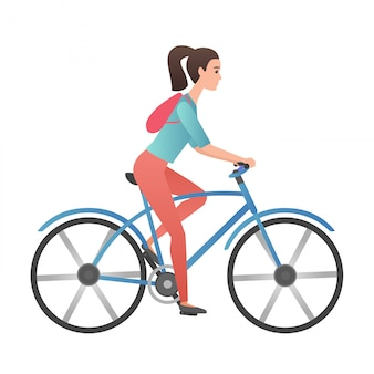Bicicletta adulta di guida della giovane donna di colore d'avanguardia di pendenza isolata.