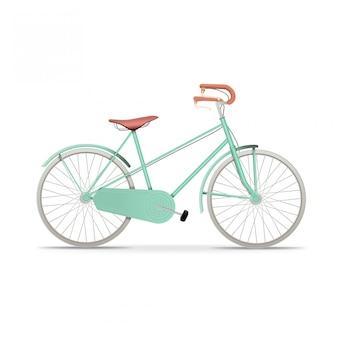 Bicicletta blu realistica dell'annata isolata